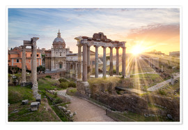 Juliste Sunset at the Roman Forum in Rome, Italy