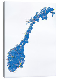 Canvas-taulu  Map Norway