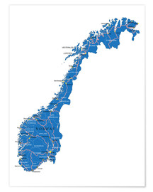 Juliste  Map Norway