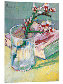 Akryylilasitaulu  Flowering almond branch in a glass with a book - Vincent van Gogh