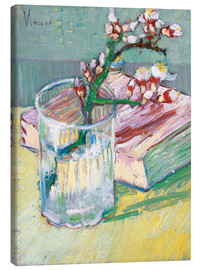 Canvas-taulu  Flowering almond branch in a glass with a book - Vincent van Gogh