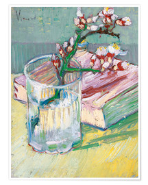 Juliste  Flowering almond branch in a glass with a book - Vincent van Gogh