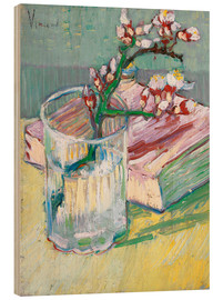 Puutaulu  Flowering almond branch in a glass with a book - Vincent van Gogh