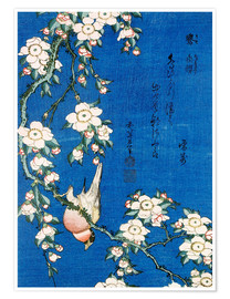 Juliste  Bullfinch and weeping cherry - Katsushika Hokusai