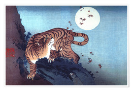 Juliste  The Tiger and the moon - Katsushika Hokusai