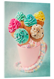 Akryylilasitaulu  Colorful cupcake pops on blue background - Elena Schweitzer