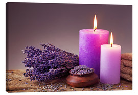 Canvas-taulu  Spa still life with candles and lavender - Elena Schweitzer