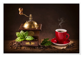Juliste  Coffee mill with a cup of coffee - Elena Schweitzer