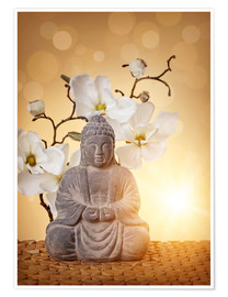 Juliste Buddha statue and orchid