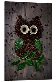 Akryylilasitaulu  Coffee owl from beans, leaves and cups - Elena Schweitzer