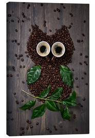 Canvas-taulu  Coffee owl from beans, leaves and cups - Elena Schweitzer