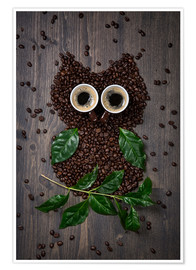 Juliste  Coffee owl from beans, leaves and cups - Elena Schweitzer