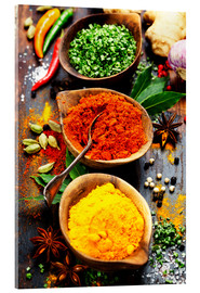 Akryylilasitaulu  Spices and herbs over wood
