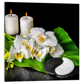Akryylilasitaulu  Spa concept with candles and orchids