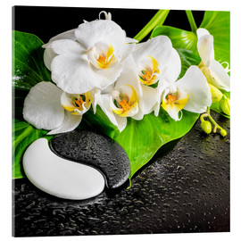 Akryylilasitaulu  Spa arrangement with white orchid