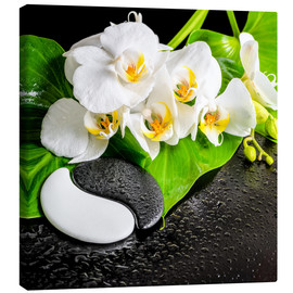 Canvas-taulu  Spa arrangement with white orchid