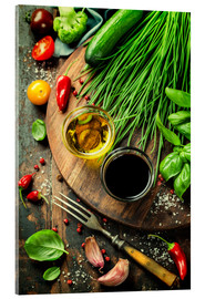 Akryylilasitaulu  Healthy bio vegetables and spices