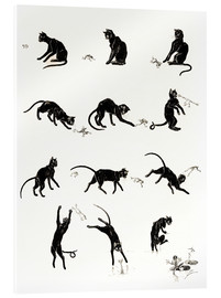 Akryylilasitaulu  The cat and the frog - Théophile-Alexandre Steinlen