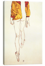 Canvas-taulu  Standing half naked with a brown shirt - Egon Schiele