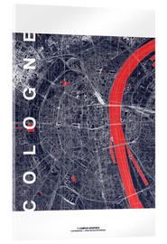 Akryylilasitaulu  City of Cologne Map midnight - campus graphics