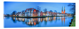 Akryylilasitaulu  Panoramic of Lubeck reflected in river Trave, Germany - Roberto Sysa Moiola