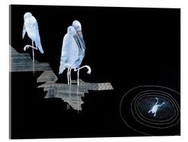 Akryylilasitaulu  Three Storks and a Frog in a Pond - Jean Dunand