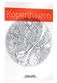 Akryylilasitaulu  Copenhagen map circle - campus graphics