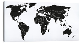 Canvas-taulu  World map black and white