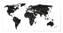 Juliste  World map black and white