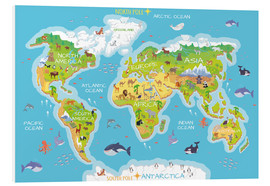 PVC-taulu  World map with animals - Kidz Collection