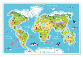 Juliste  World map with animals - Kidz Collection
