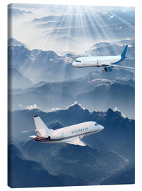 Canvas-taulu  Two aircrafts over the mountains