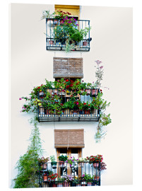 Akryylilasitaulu  Facade with balconies full of flowers in Valencia