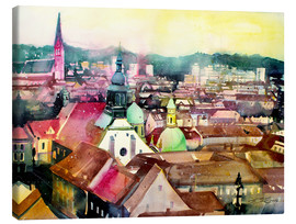 Canvas-taulu  Graz, view to the cathedral - Johann Pickl
