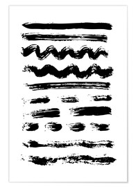 Juliste Brush strokes black and white