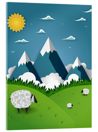 Akryylilasitaulu  Paper landscape with sheep - Kidz Collection