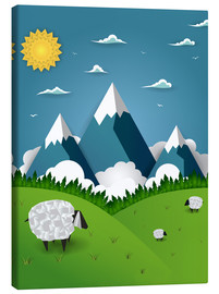 Canvas-taulu  Paper landscape with sheep - Kidz Collection