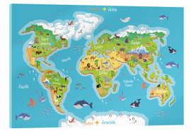 Akryylilasitaulu  World map for children (German) - Kidz Collection
