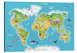 Alumiinitaulu  World map for children (German) - Kidz Collection