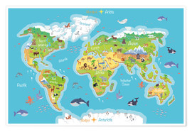 Juliste  World map for children (German) - Kidz Collection