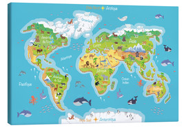 Canvas-taulu  World map for children (French) - Kidz Collection