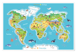 Juliste  World map for children (French) - Kidz Collection