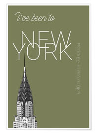 Juliste Popart New York Chrysler Building I have been to Color: calliste green