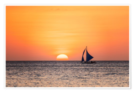 Juliste Sailboat in the sunset