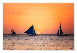 Juliste Sailboats in the sunset