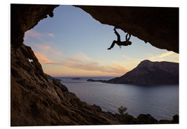 PVC-taulu  Climber in a cave at sunset