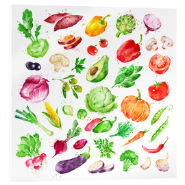 Akryylilasitaulu  Fruits and vegetables watercolor