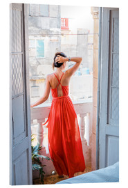 Akryylilasitaulu  Young attractive woman in red dress
