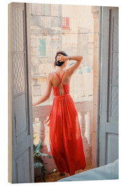 Puutaulu  Young attractive woman in red dress