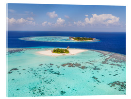 Akryylilasitaulu  Aerial view of islands in the Maldives - Matteo Colombo